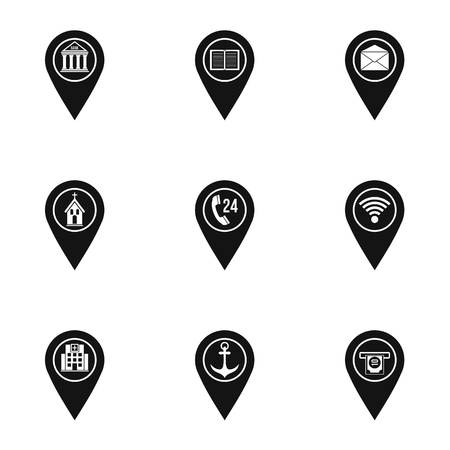 map pin: Map pins icon set. Simple set of 9 map pins vector icons for web isolated on white background