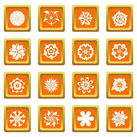 웹 및 모든 디자인에 대 한 격리 된 벡터 일러스트 레이 션 오렌지 색상에서 설정하는 다른 꽃 아이콘 일러스트