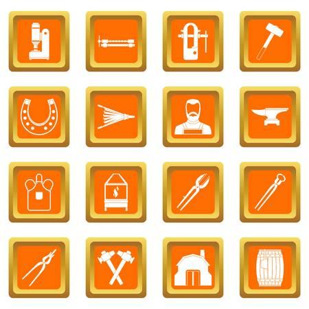 Blacksmith icons set orange Illustration