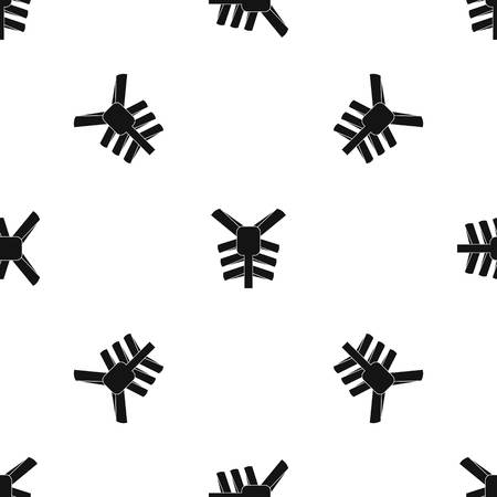 Human thorax pattern seamless black Illustration