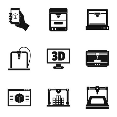 3d printer icon set, simple style Illustration