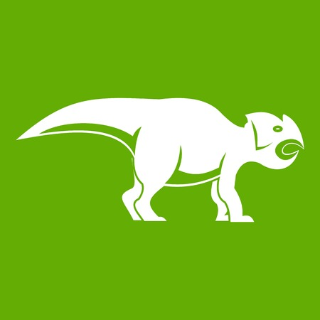 Ceratopsians dinosaur icon green Illustration