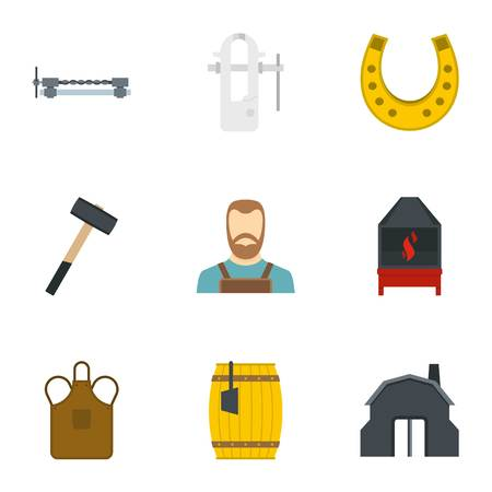 Blacksmith icon set, flat style