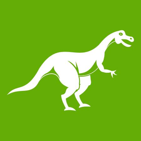 Theropod dinosaur icon green Illustration