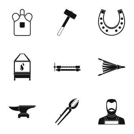 tongs: Blacksmith icon set, simple style Illustration