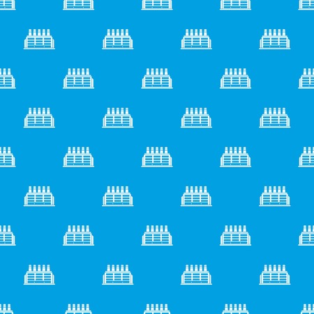 powerhouse: Manufacturing factory building pattern seamless blue
