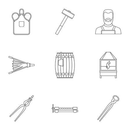 Blacksmith icon set, outline style Illustration