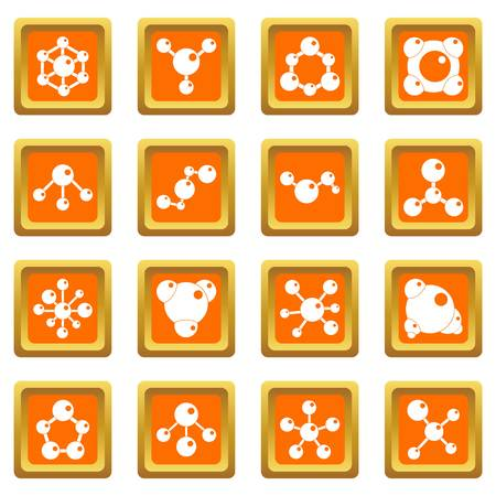 Molecule icons set orange
