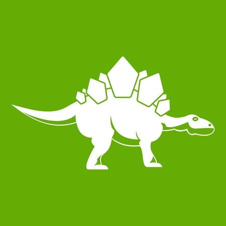Stegosaurus dinosaur icon green Illustration