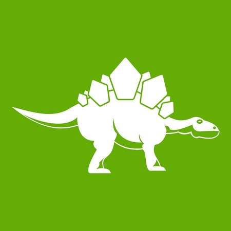 Stegosaurus dinosaur icon green Illustration