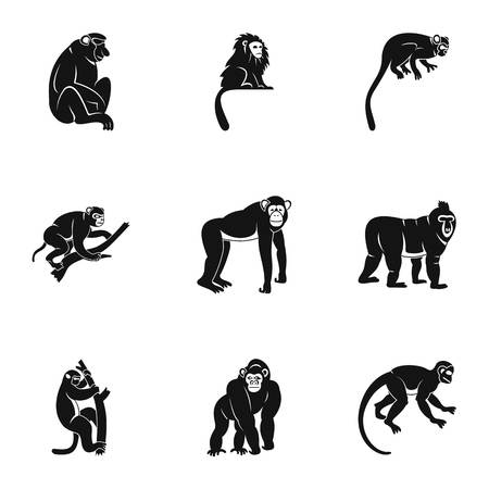 Different monkey icon set, simple style