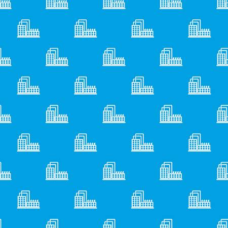 Factory building pattern seamless blue Illustration