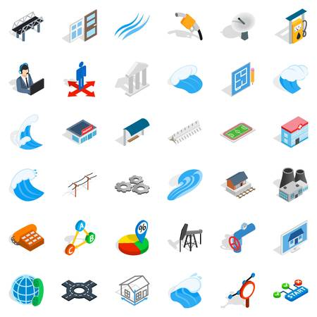 Electricity station icons set, isometric style