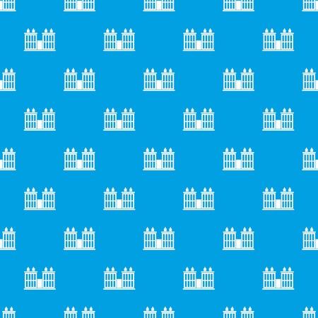 Plant building pattern seamless blue Illustration