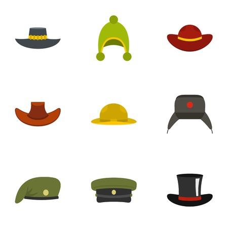 Season hat icon set. Flat set of 9 season hat vector icons for web isolated on white background Illustration