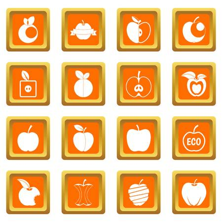 Apple icons set in orange color isolated vector illustration for web and any design