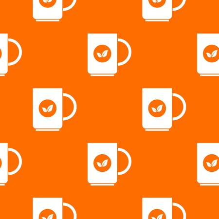 ENT: Cup of tea pattern repeat seamless in orange color for any design. Vector geometric illustration