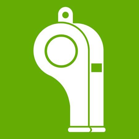 umpire: Whistle icon white isolated on green background. Vector illustration Illustration
