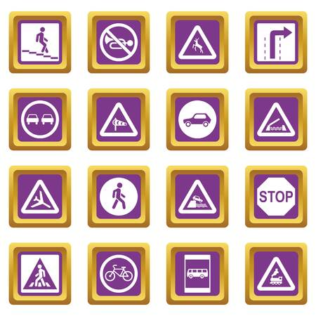Road Sign Set icons set in purple color isolated vector illustration for web and any design