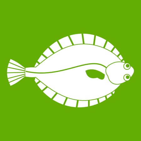 Flounder icon white isolated on green background. Vector illustration