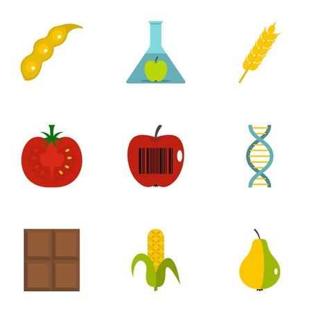 No GMO icon set, flat style Illustration