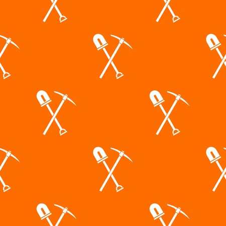 Shovel and pickaxe pattern repeat seamless in orange color for any design. Vector geometric illustration Illustration