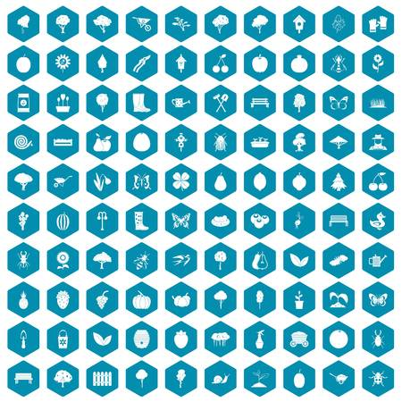 the sprouting: 100 gardening icons set in sapphirine hexagon isolated vector illustration