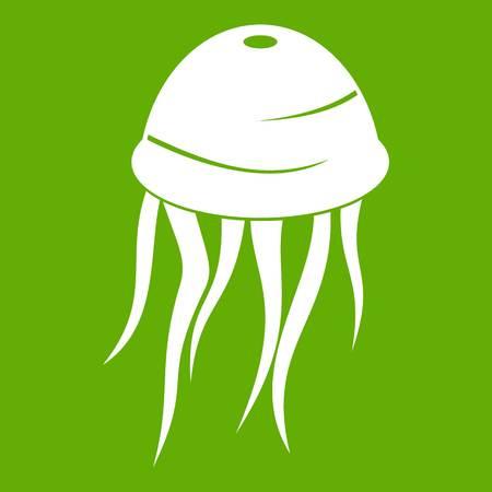 Jellyfish icon white isolated on green background. Illustration