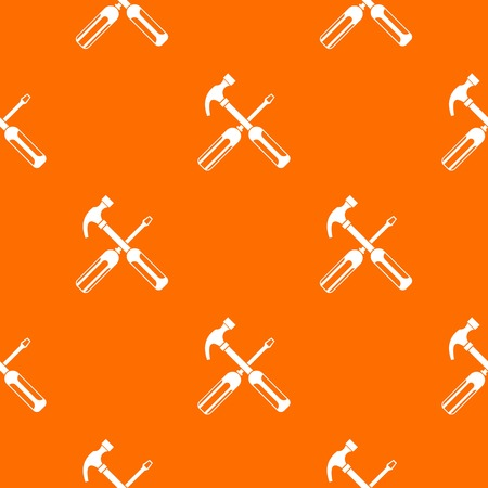 Hammer and screwdriver pattern repeat seamless in orange color for any design. Illustration