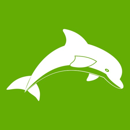 Jumping dolphin icon white isolated on green background. Vector illustration