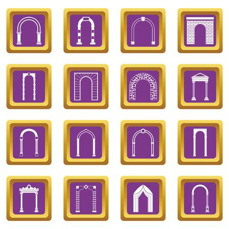 Arch set icons set in purple color isolated vector illustration for web and any design Illustration