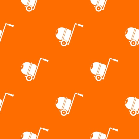 Concrete mixer pattern repeat seamless in orange color for any design. Vector geometric illustration