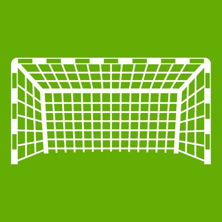 Goal post icon white isolated on green background. Vector illustration Illustration