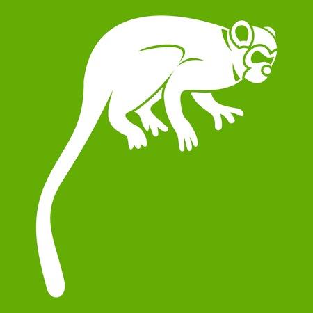 Marmoset monkey icon white isolated on green background. Vector illustration Illustration