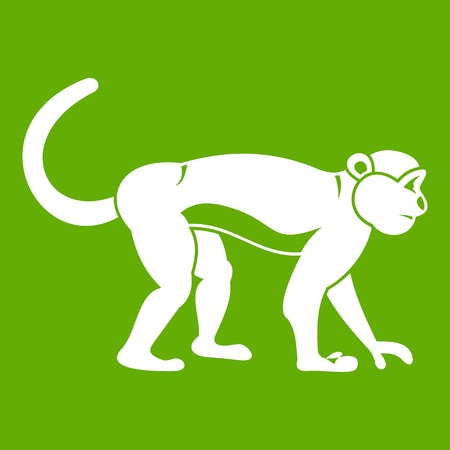 Macaque icon white isolated on green background. Vector illustration
