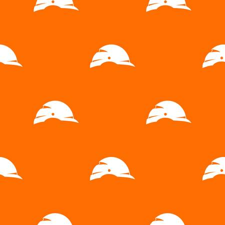 Construction helmet pattern repeat seamless in orange color for any design. Vector geometric illustration