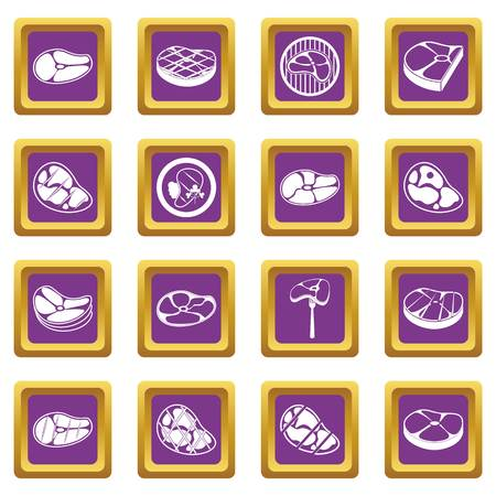 Steak icons set purple