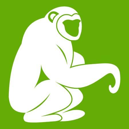 Monkey sitting icon white isolated on green illustration