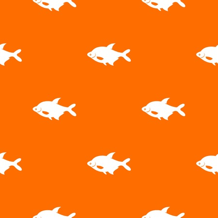 Fish pattern repeat seamless in orange color for any design. Vector geometric illustration Ilustração