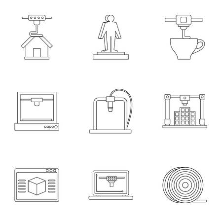 3d printer construct icon set. Outline set of 9 3d printer construct vector icons for web isolated on white background