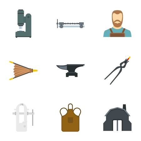 Blacksmith man icon set, flat style Illustration