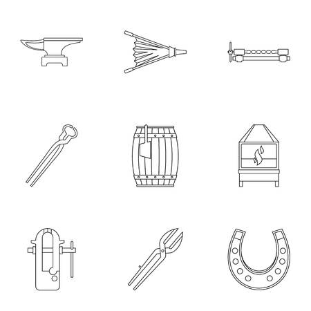 Blacksmith equipment icon set, outline style