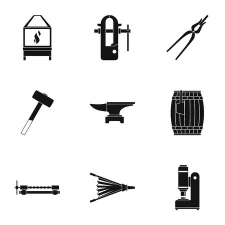 Blacksmith profession icon set, simple style