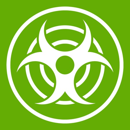 Sign of biological threat icon green Illustration