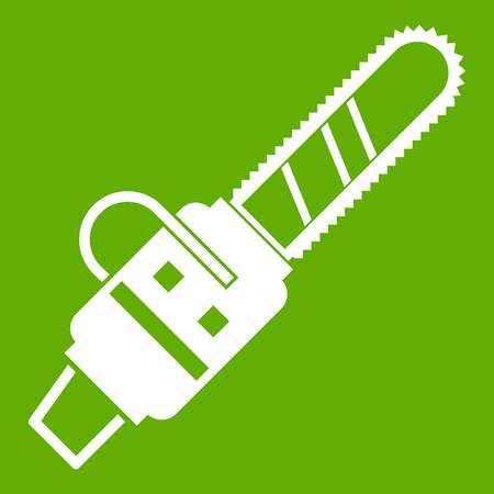 Gasoline powered chainsaw icon green