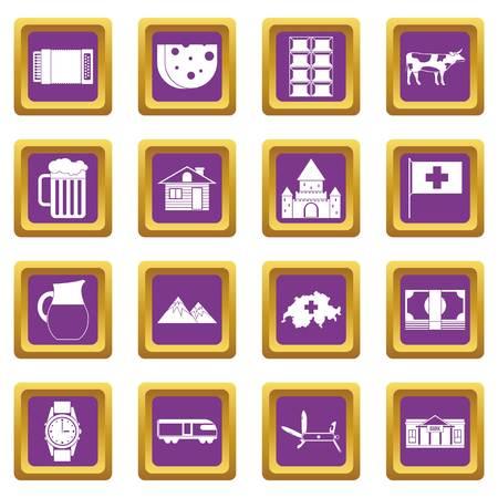Switzerland icons set purple