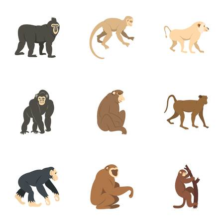 Different monkey icon set, flat style