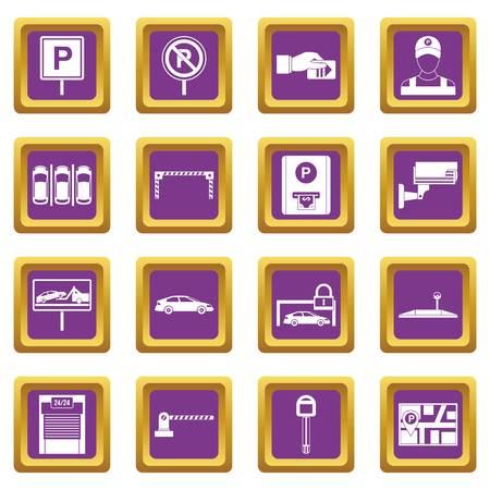 Parcheggio auto impostare icone in colore viola isolato illustrazione vettoriale per il web e qualsiasi design
