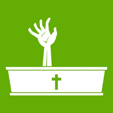 Zombie hand coming out of his coffin icon green Illustration