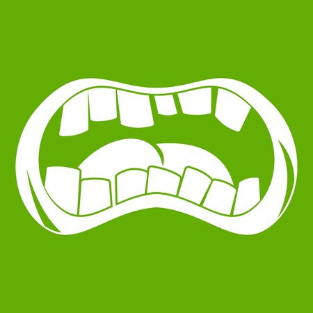 Zombie mouth icon white isolated on green background. Vector illustration
